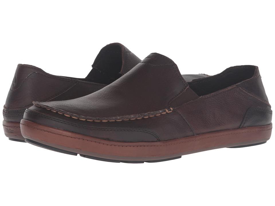 OluKai Puhalu Leather (Dark Wood/Toffee) Men