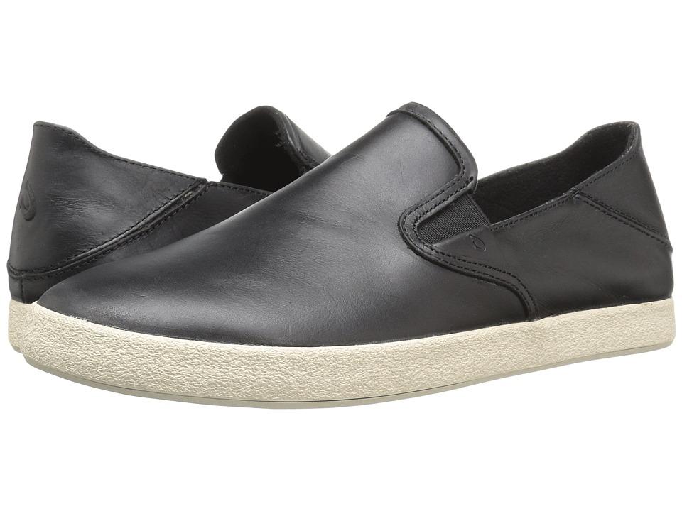 OluKai Makani Leather (Black/Black) Men