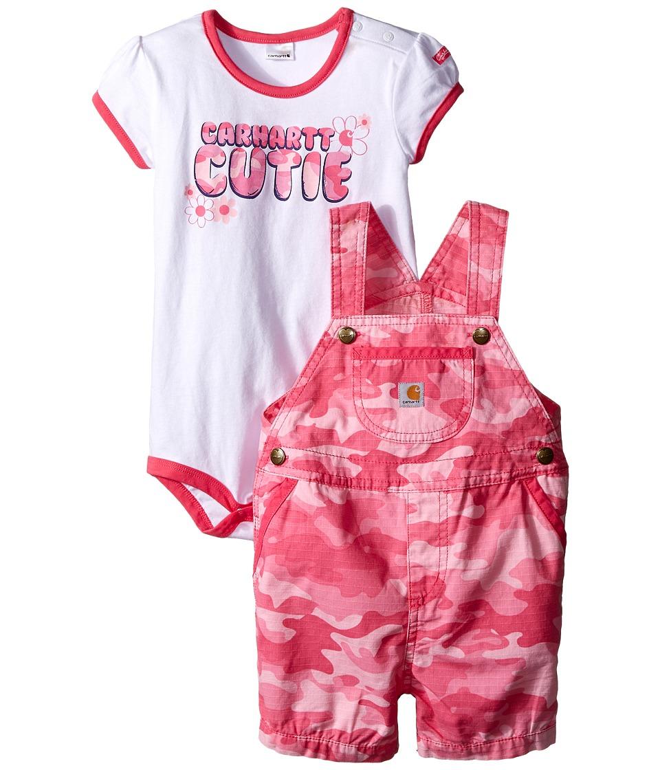 Carhartt Kids Camo Ripstop Shortall Set Infant Pink Camo Girls Active Sets