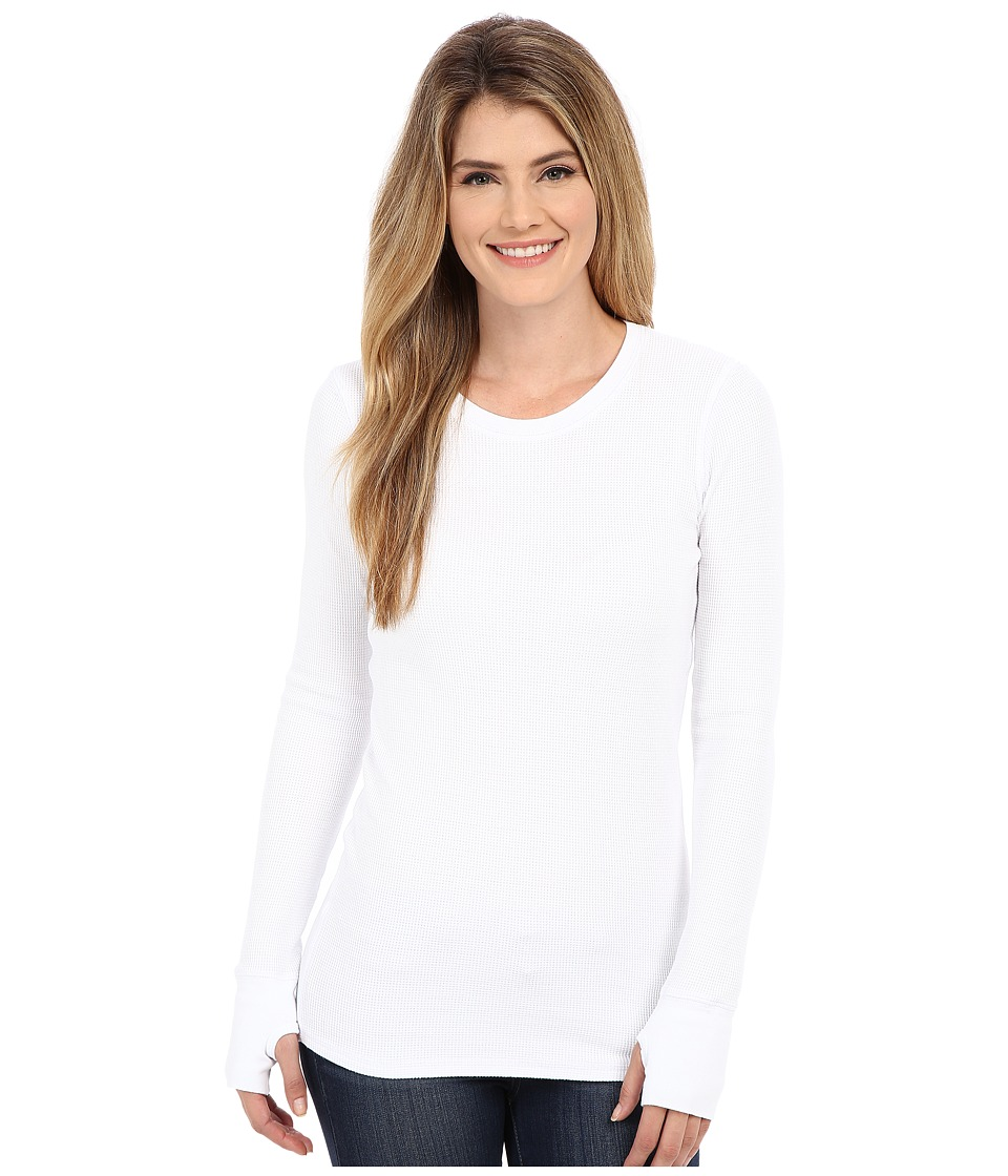 Allen Allen L/S Thumbhole Tee Thermal Crew White Womens Long Sleeve Pullover