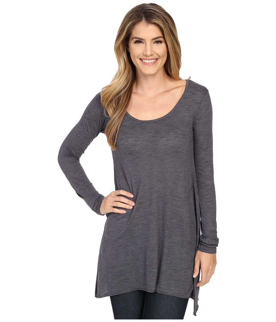 Allen Allen - L/S Angled 2-Pocket Scoop Tunic (Flint) Womens Long Sleeve Pullover