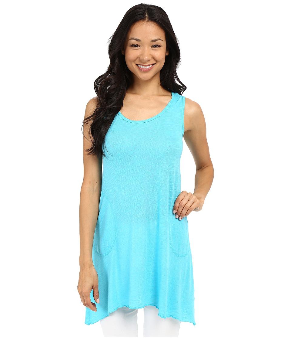 Allen Allen Scoop Neck Angled Tunic Sea Blue Womens Sleeveless