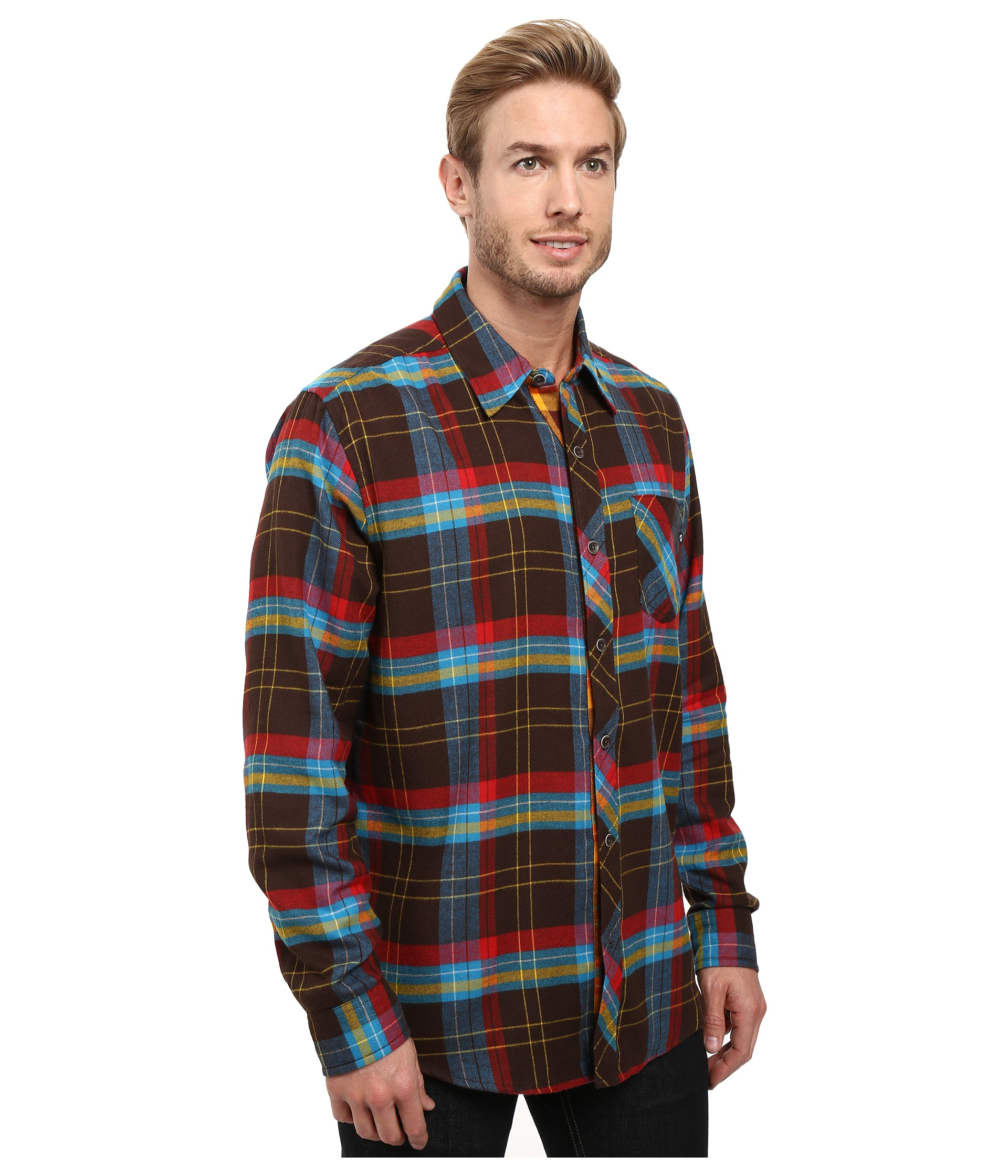 Marmot anderson flannel long sleeve shirt rich brown for Athletic cut flannel shirts