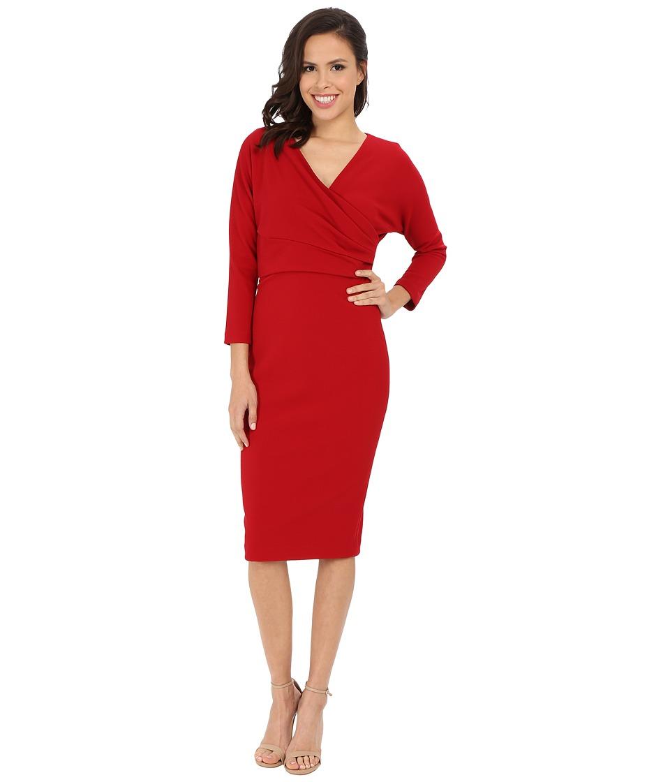 Badgley Mischka Cross Over Sheath Dress Cranberry Womens Dress