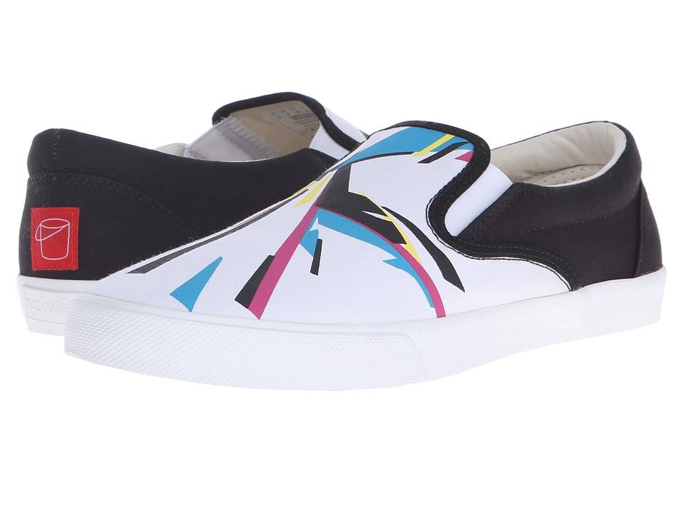 BucketFeet CMYK Visons Black/White Mens Slip on Shoes