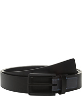 Calvin Klein - 35mm Flat Strap Caviar Grain Belt with Smooth Contrast Color Tab