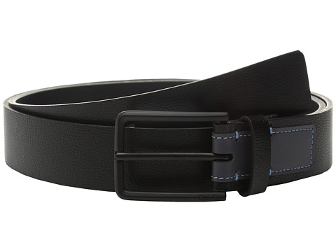 Calvin Klein 35mm Flat Strap Caviar Grain Belt with Smooth Contrast Color Tab
