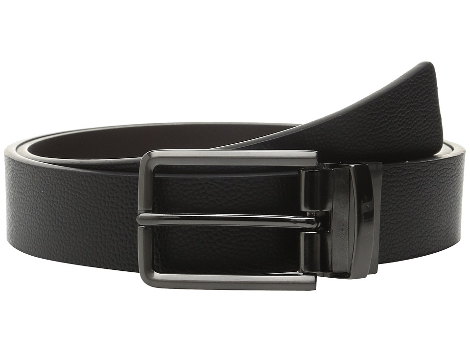 Calvin Klein 32mm Reversible Flat Strap on Harness Buckle with Engraved Color Filled Logo Black/Chocolate/Blue Mens Belts