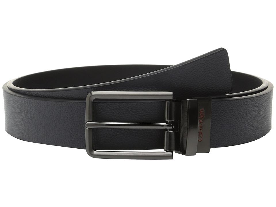 Calvin Klein 32mm Reversible Flat Strap on Harness Buckle with Engraved Color Filled Logo Dark Grey/Black/Orange Mens Belts