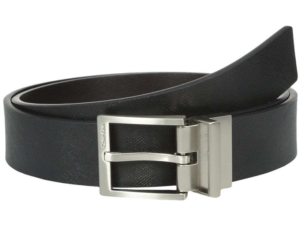Calvin Klein 32mm Reversible Flat Strap with Harness Buckle Black/Chocolate Mens Belts