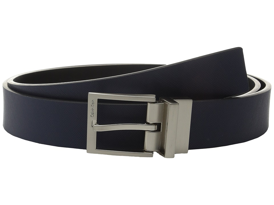 Calvin Klein 32mm Reversible Flat Strap with Harness Buckle Ink/Black Mens Belts