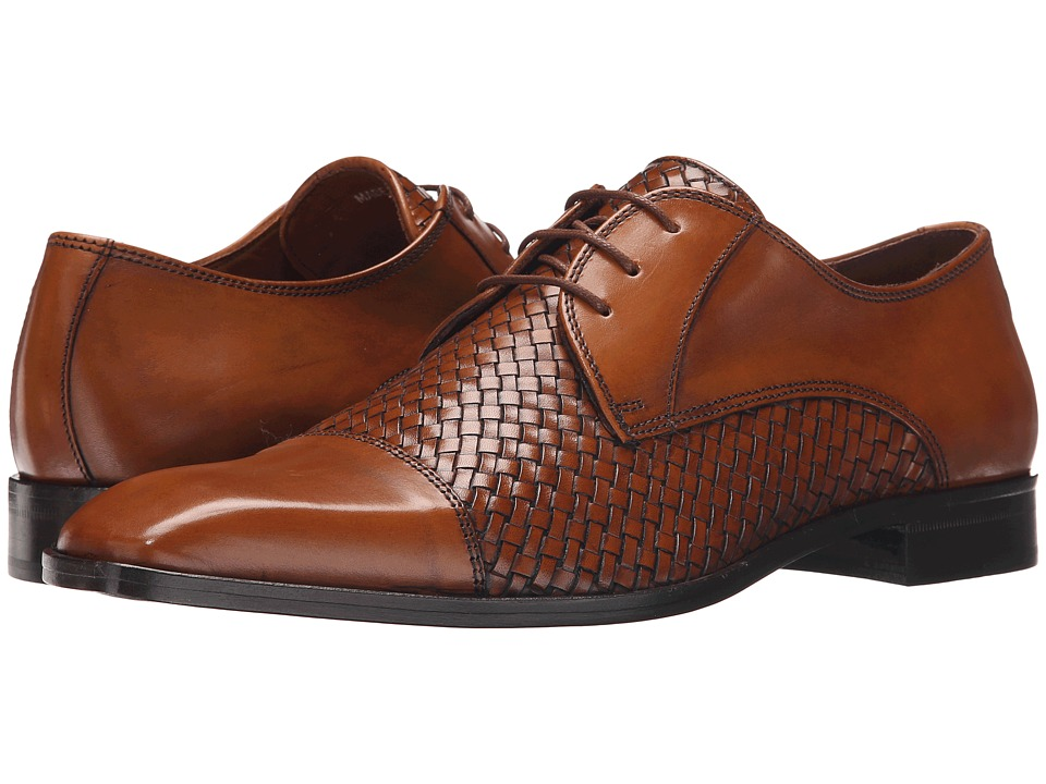 Massimo Matteo 4 Eye Woven Cap Toe Cuoio Mens Lace Up Cap Toe Shoes