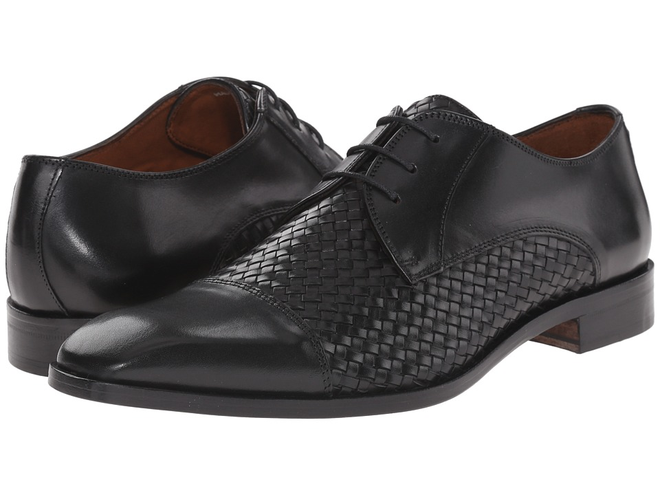 1930s Style Mens Shoes Massimo Matteo - 4-Eye Woven Cap Toe Black Mens Lace Up Cap Toe Shoes $175.00 AT vintagedancer.com