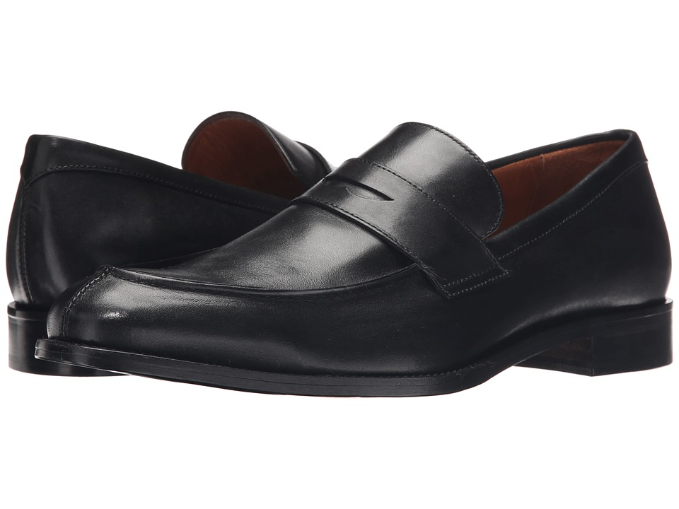 Massimo Matteo Mocc Split Penny Loafer Black Mens Slip on Shoes