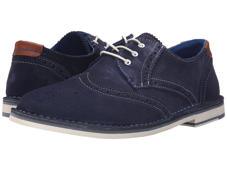 Ted Baker Jamfro 7 Dark Blue Suede Mens Lace Up Wing Tip Shoes