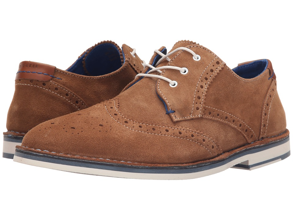 Ted Baker Jamfro 7 Tan Suede Mens Lace Up Wing Tip Shoes