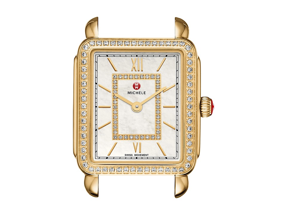 Michele 16mm Deco II Mid Size Diamond Gold Diamond Dial Gold Watches