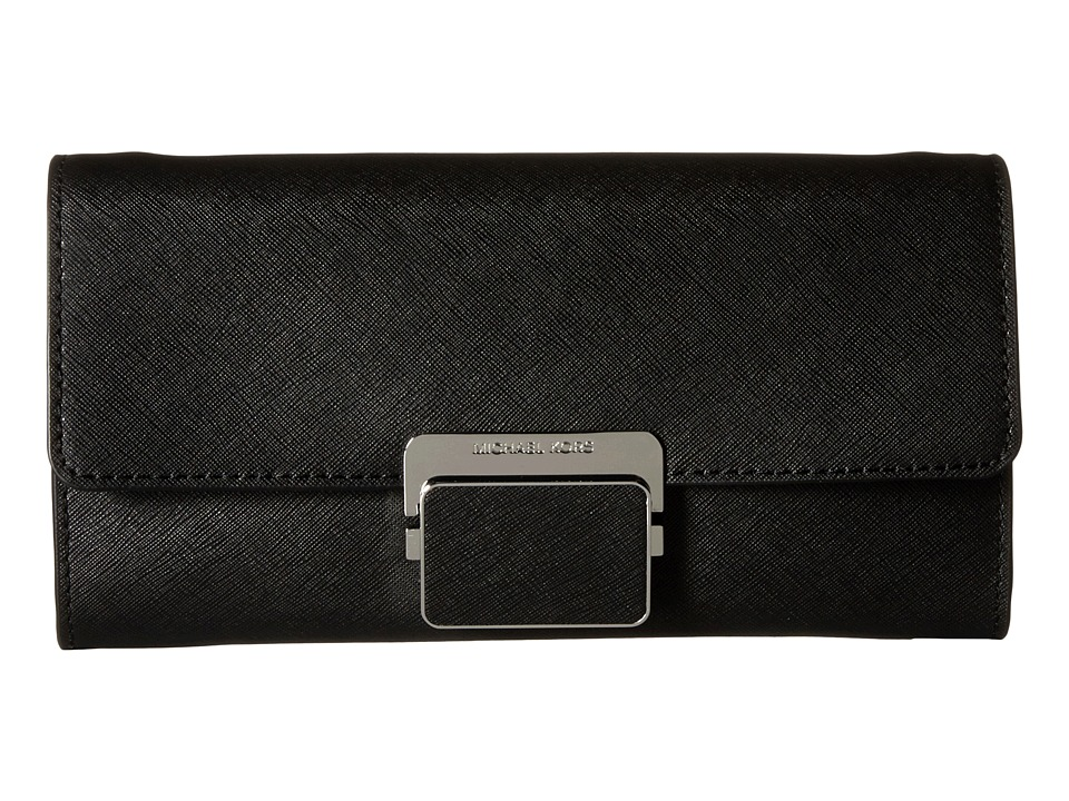 MICHAEL Michael Kors Cynthia Large Clutch (Black) Clutch Handbags