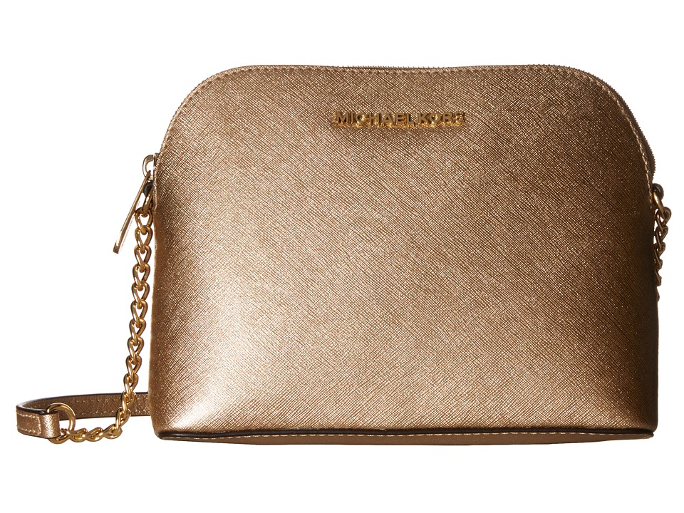 Michael Kors Cindy Large Dome Crossbody (Pale Gold) Cross...