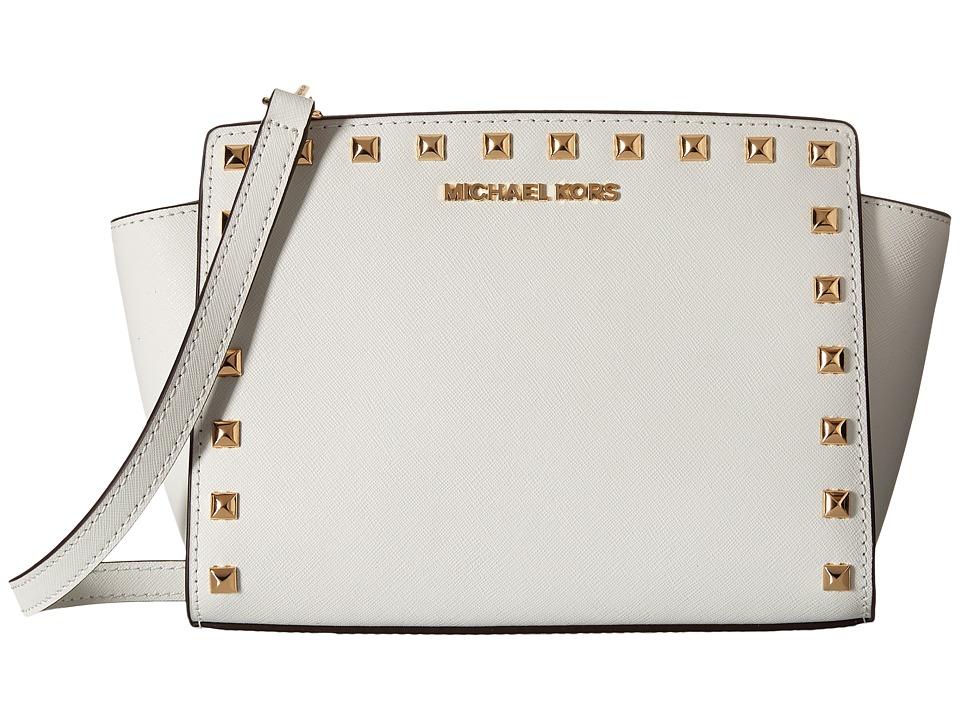 MICHAEL Michael Kors Selma Stud Medium Messenger Optic White Cross Body Handbags