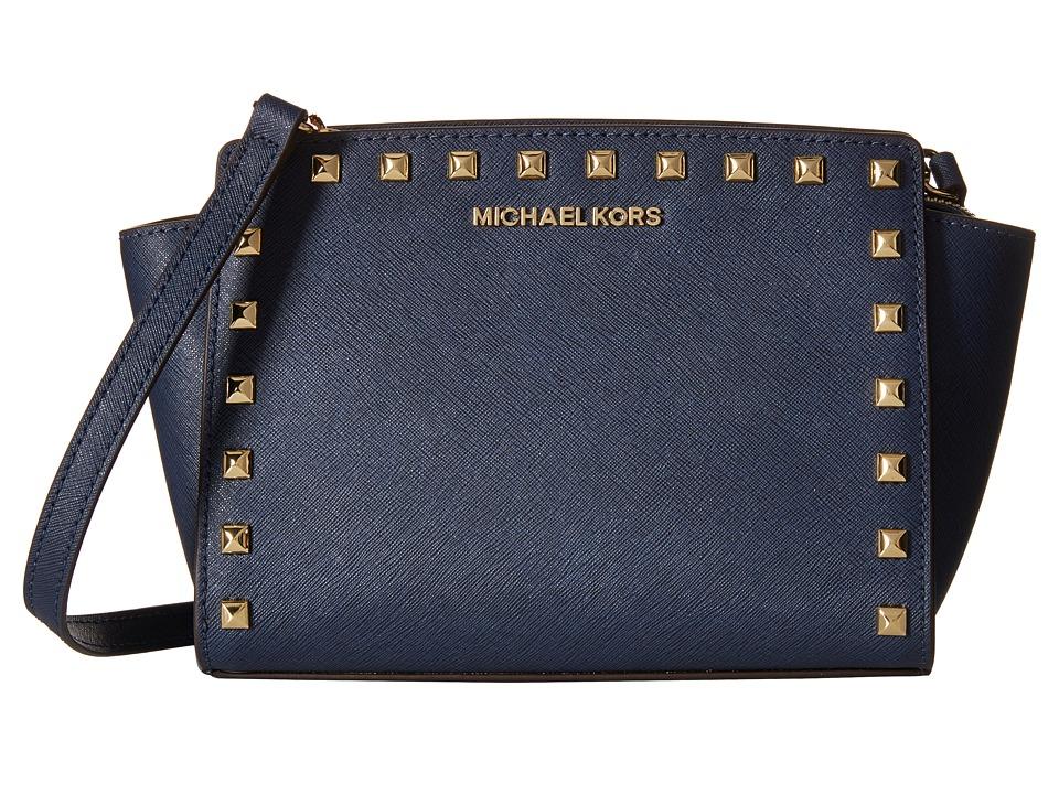MICHAEL Michael Kors Selma Stud Medium Messenger Navy Cross Body Handbags