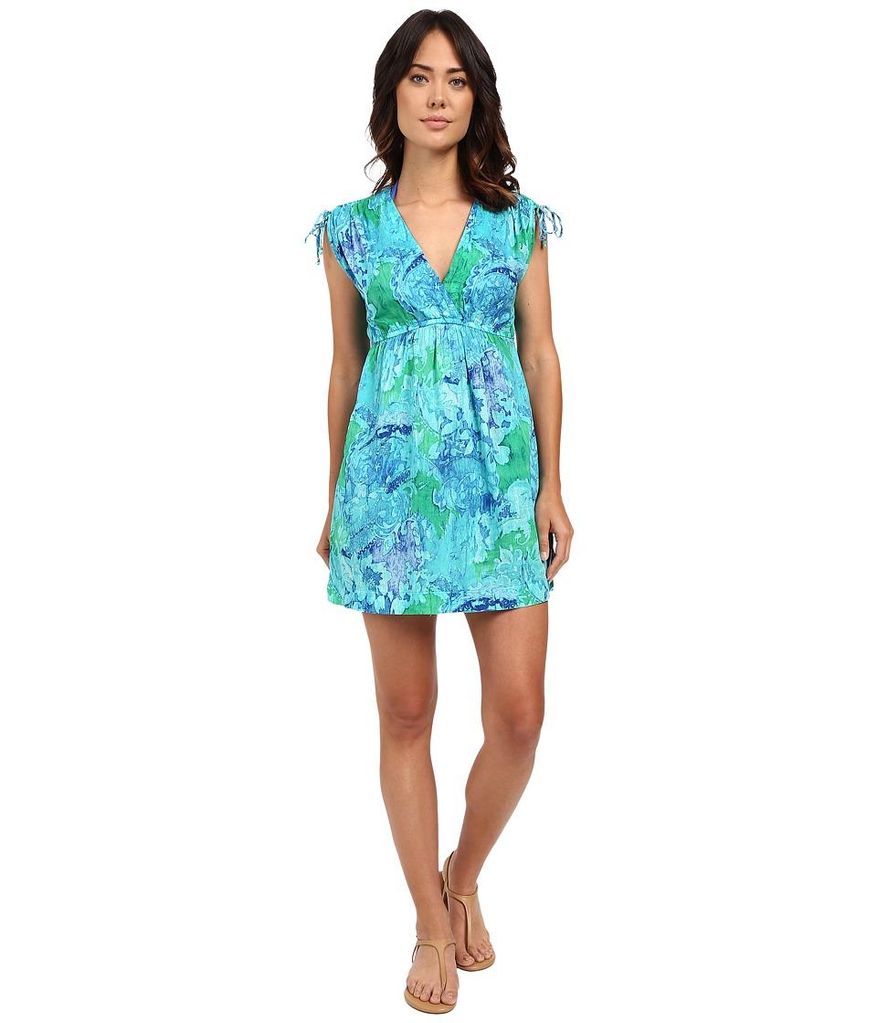 LAUREN Ralph Lauren Oceania Floral Farrah Dress Crushed Cotton Cover Up Blue Multi Womens Swimwear
