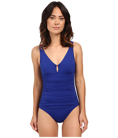 LAUREN Ralph Lauren Beach Club Solids Ring Over the Shoulder One-Piece w/ Slimming Fit & Removable Cup