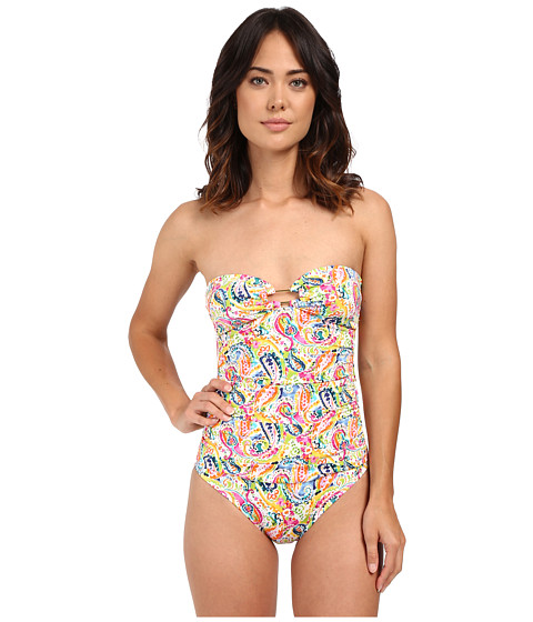 LAUREN Ralph Lauren Colorful Paisley Ring Strapless One-Piece w/ Slimming Fit & Removable Cup