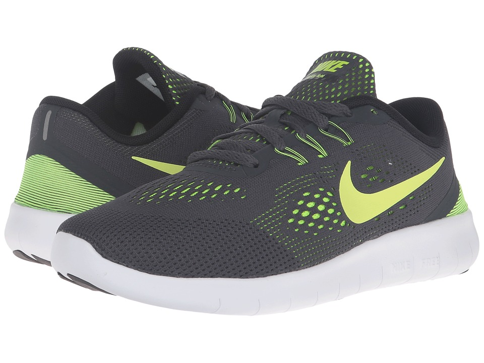 Nike Kids Free RN (Big Kid) (Anthracite/Black/White/Volt) Boys Shoes