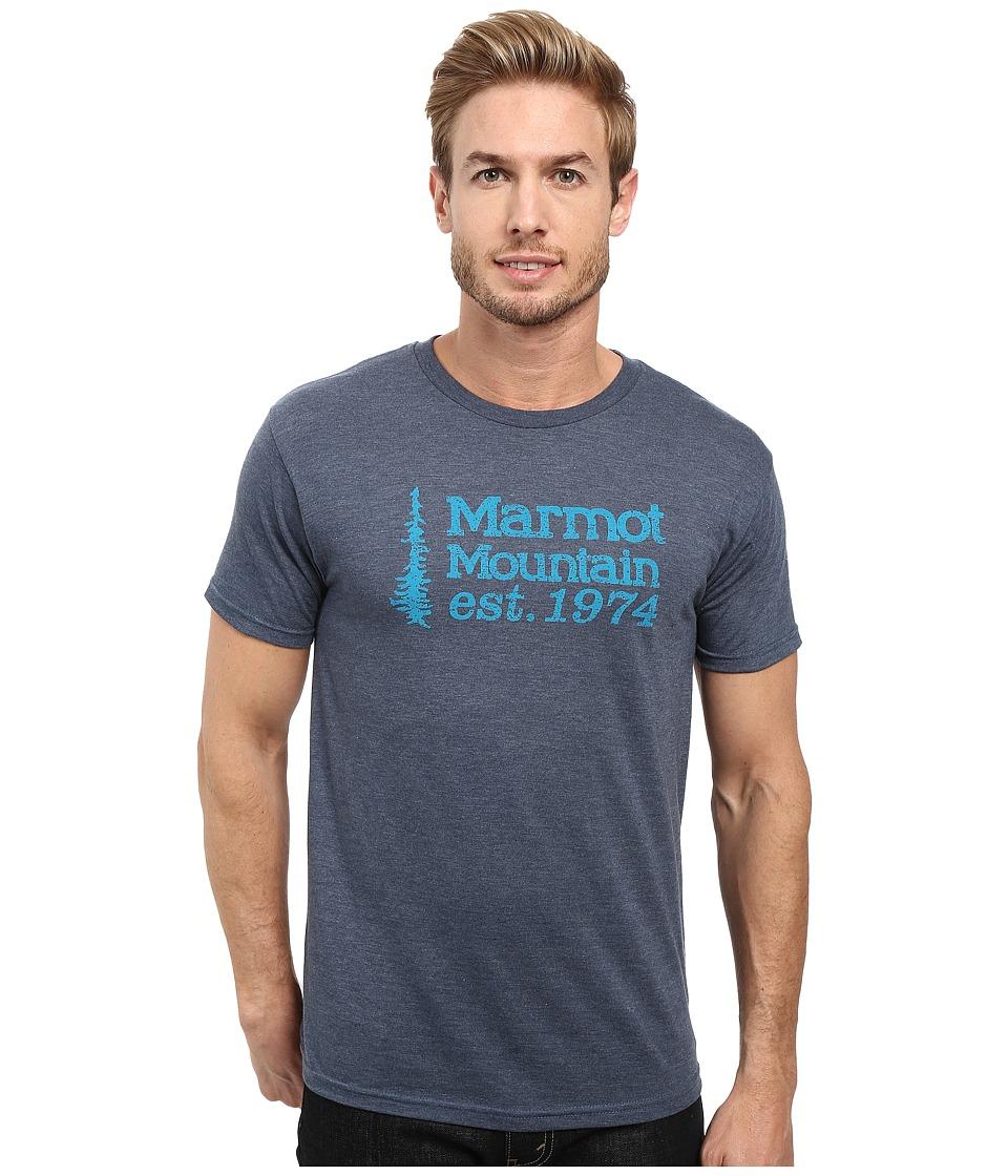 Marmot - 74 Short Sleeve Tee (Navy Heather) Men