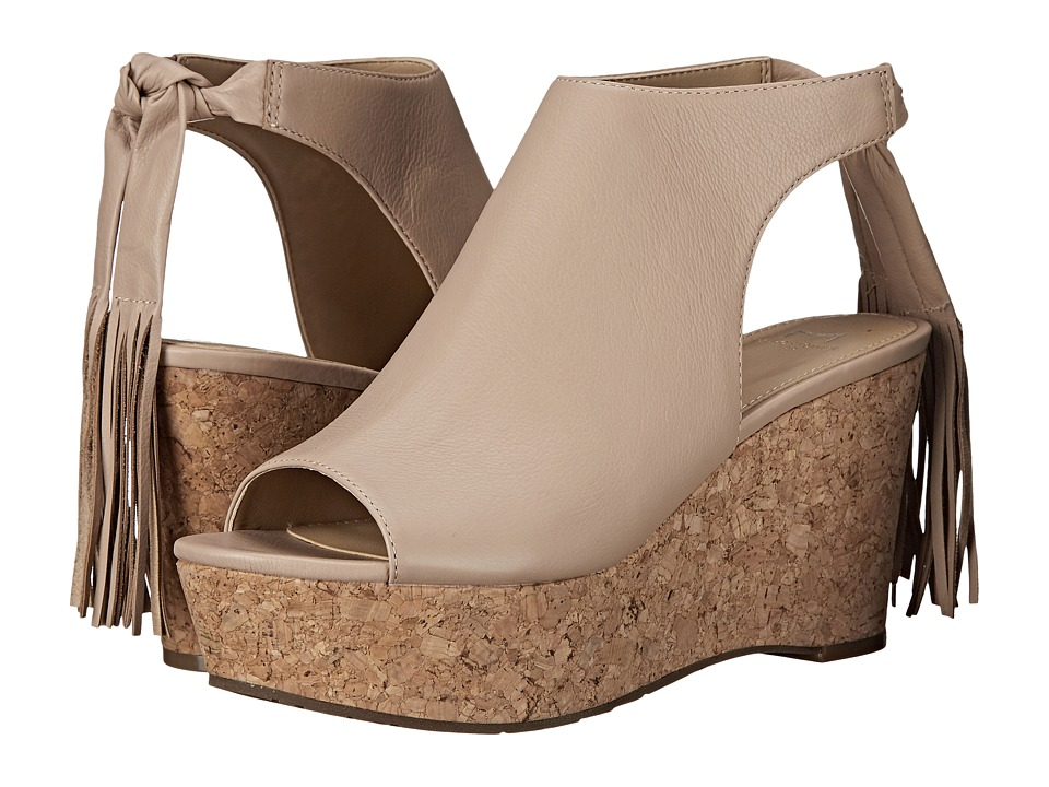 Marc Fisher LTD Sueann Beige Leather Womens Wedge Shoes