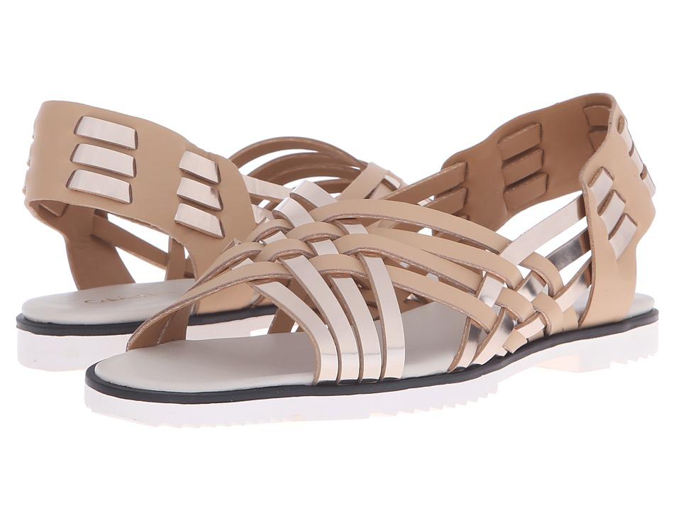 Calvin Klein Mariana Soft White/Sandstorm Metallic Box/Leather Womens Flat Shoes