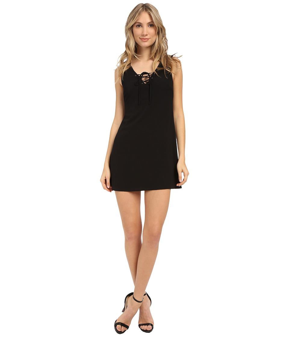 Brigitte Bailey Solid Lace Up Front Dress Black Womens Dress