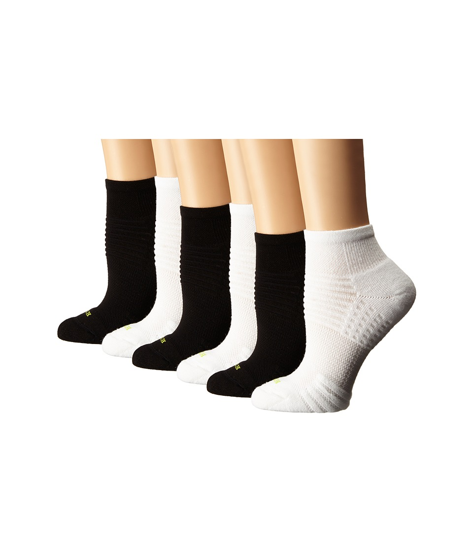 HUE Air Cushion 6 Pair Pack Quarter Top 3D Sole White/Black Womens Quarter Length Socks Shoes