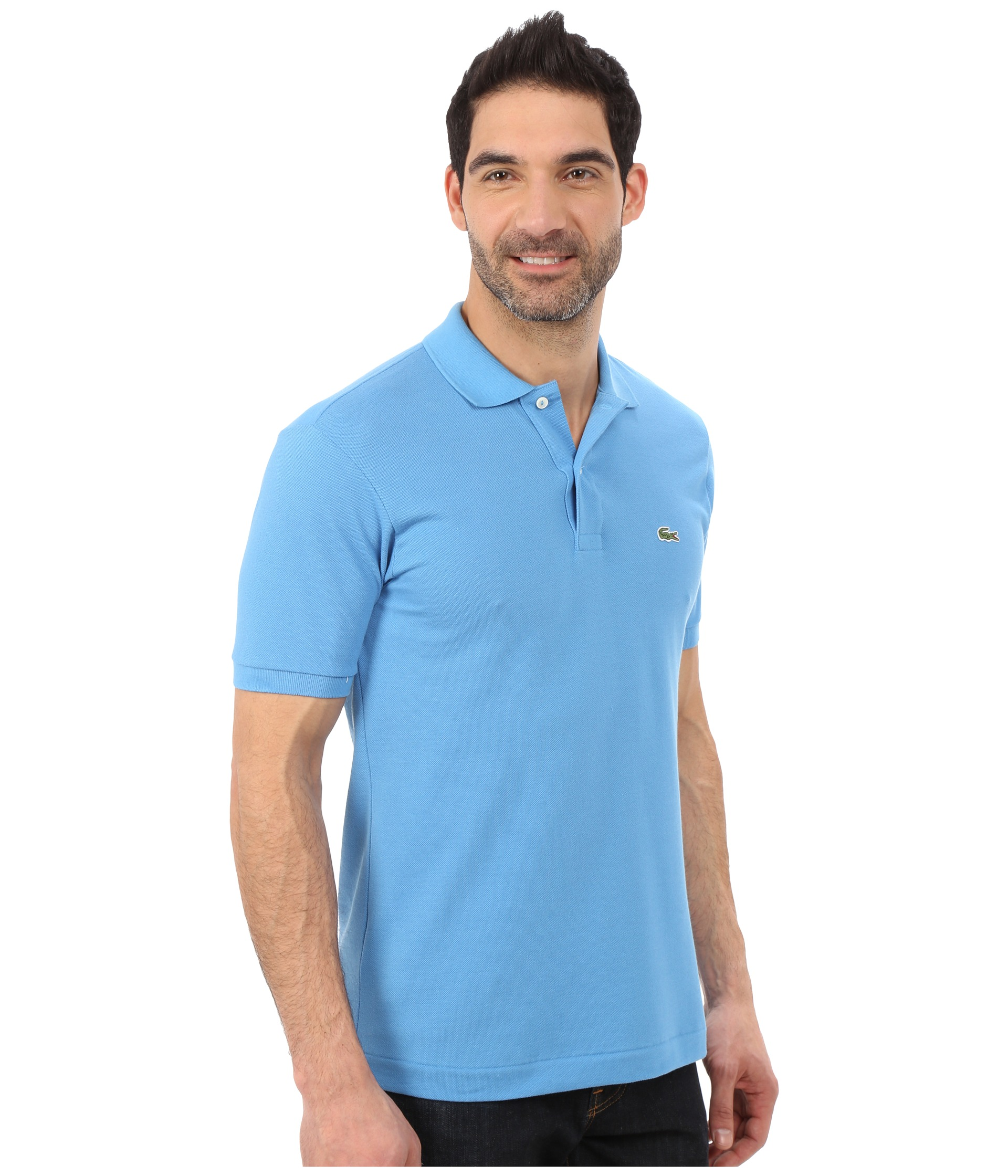 Lacoste l1212 classic pique polo shirt spa blue zappos for Lacoste size 4 polo shirt