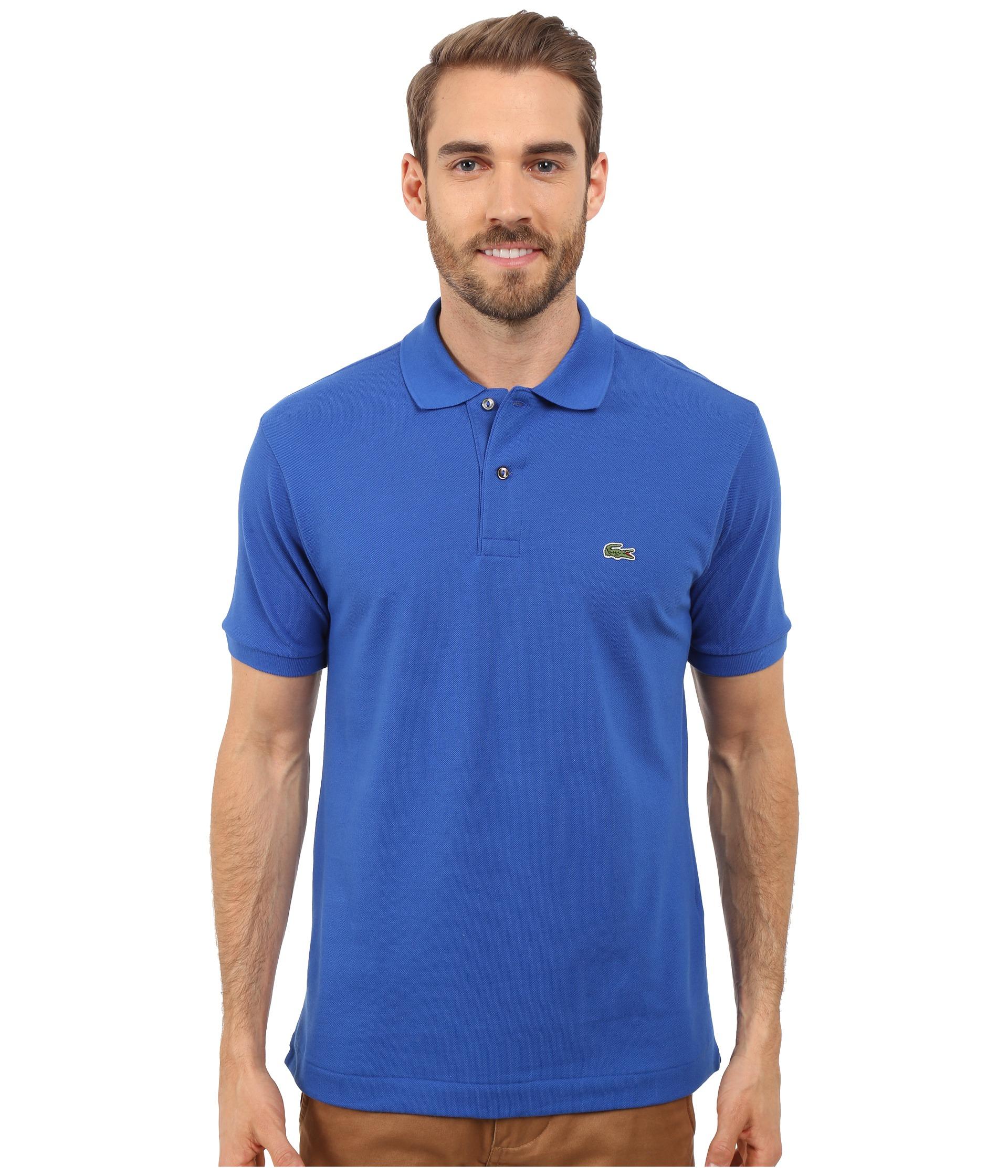 Lacoste l1212 classic pique polo shirt delta blue zappos for Lacoste size 4 polo shirt