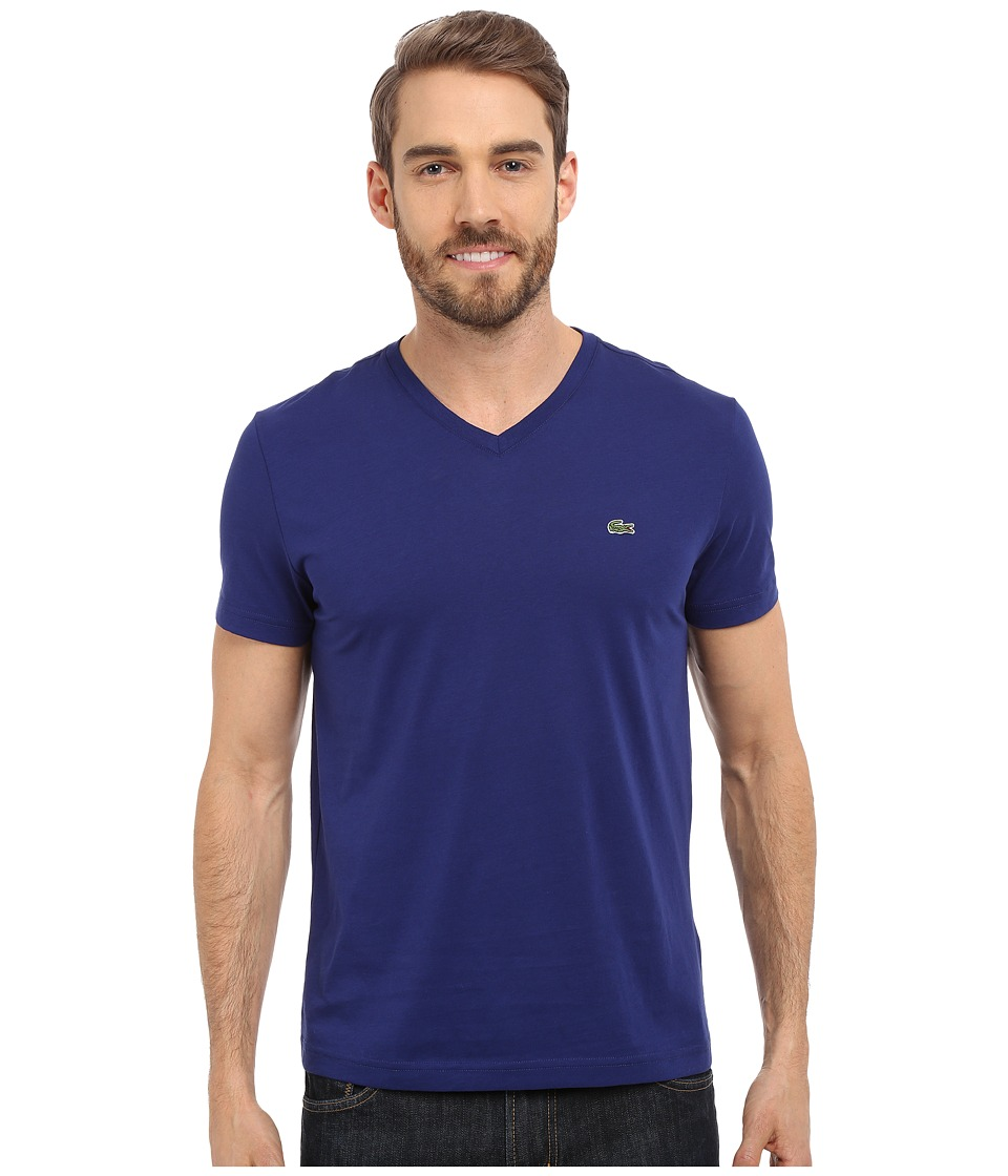Lacoste - S/S Pima Jersey V-Neck T-Shirt (Ocean) Men