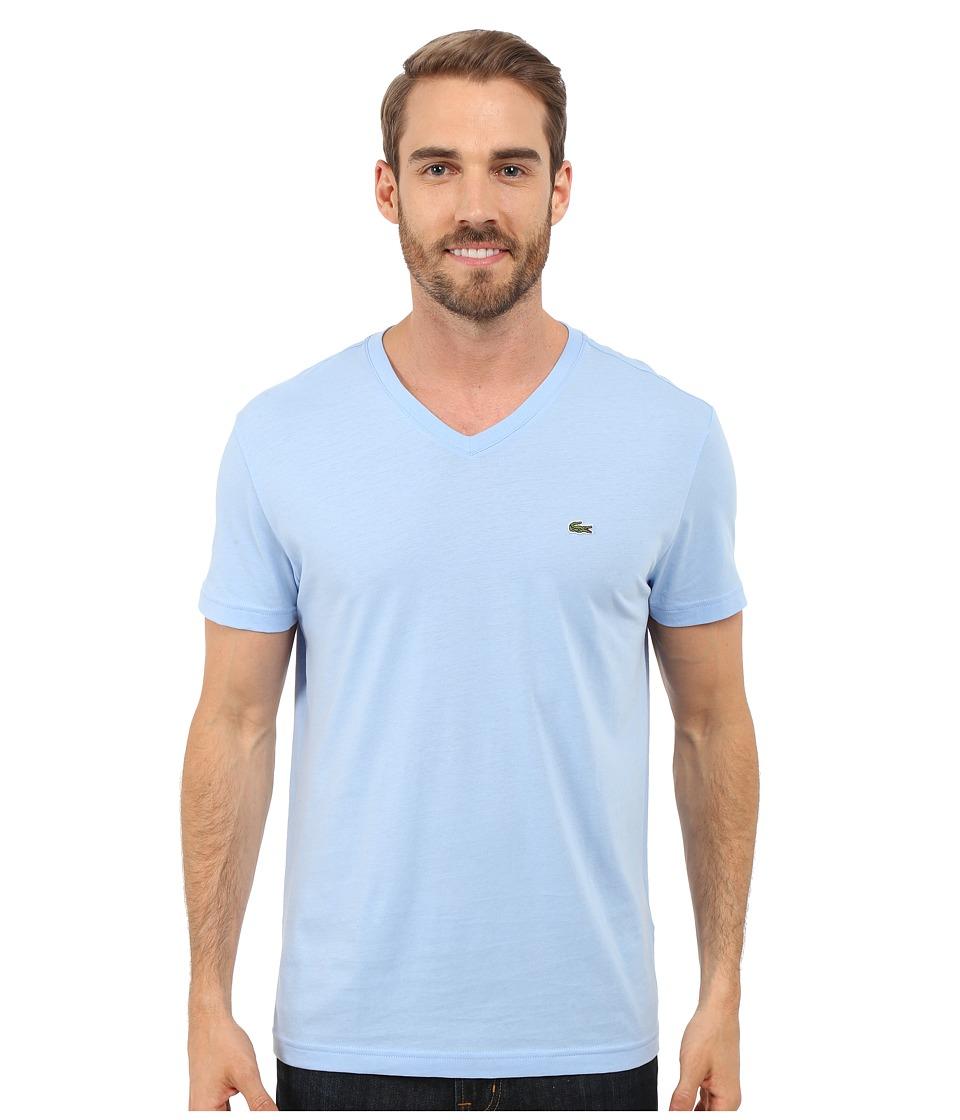 Lacoste - S/S Pima Jersey V-Neck T-Shirt (Nattier Blue 07E) Men