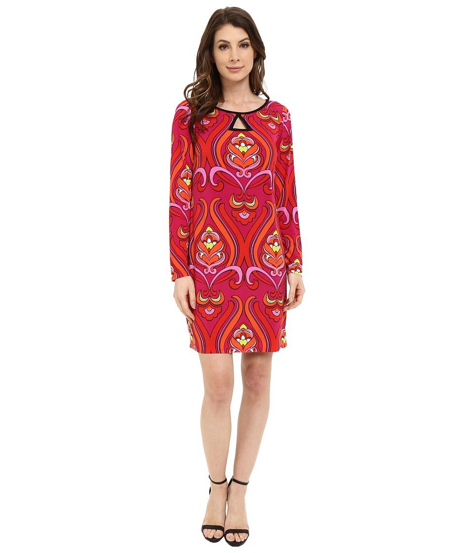 Laundry by Shelli Segal Long Sleeve Key Hole Print Dress Red Orange Womens Dress