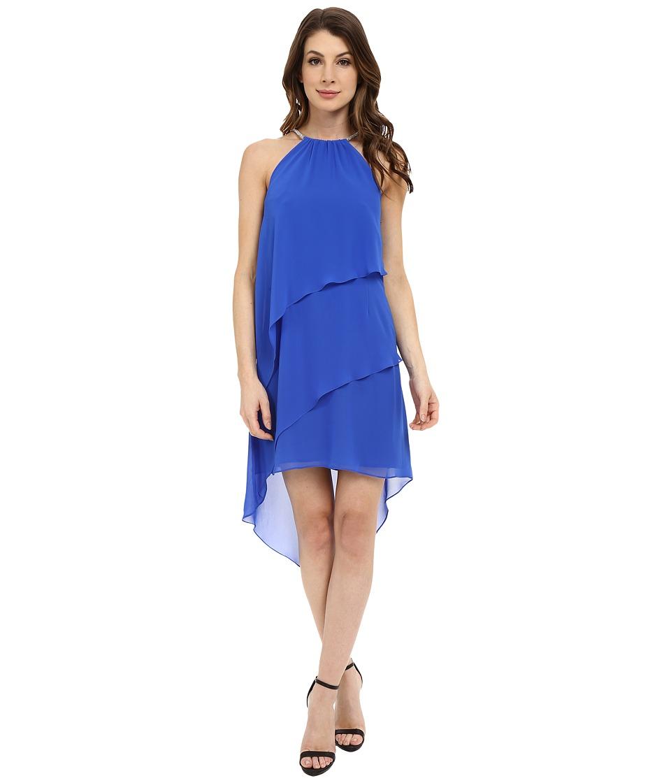 Laundry by Shelli Segal Embellished Neck Tiered Asymmetrical Hem Dress Bright Blue Womens Dress