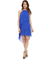 Laundry by Shelli Segal - Embellished Neck Tiered Asymmetrical Hem Dress