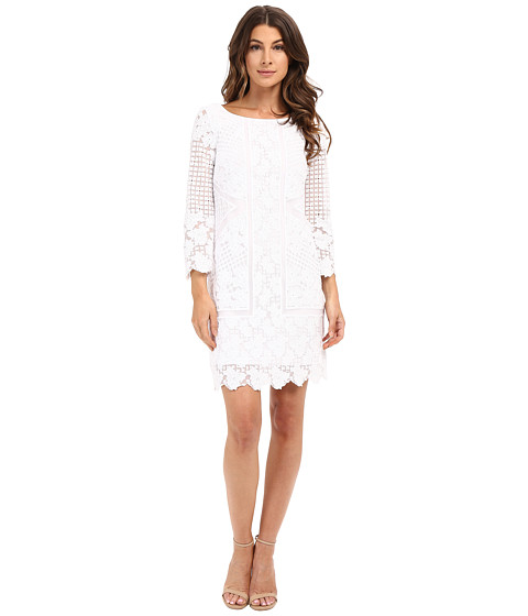 Laundry by Shelli Segal 3/4 Sleeve Embroidered Mesh Dress