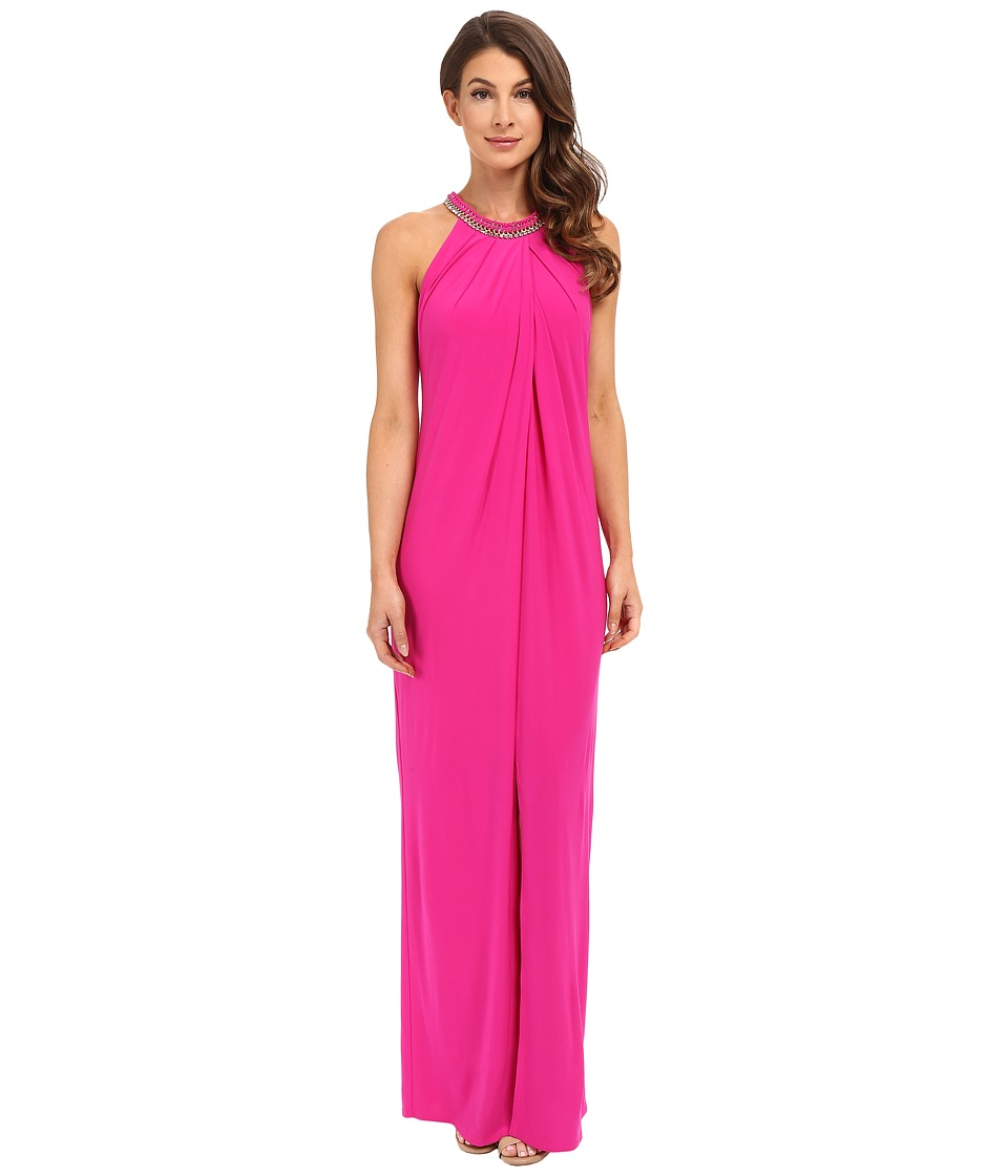 Laundry by Shelli Segal Matte Jersey Sleeveless Gown Electric Pink Womens Dress
