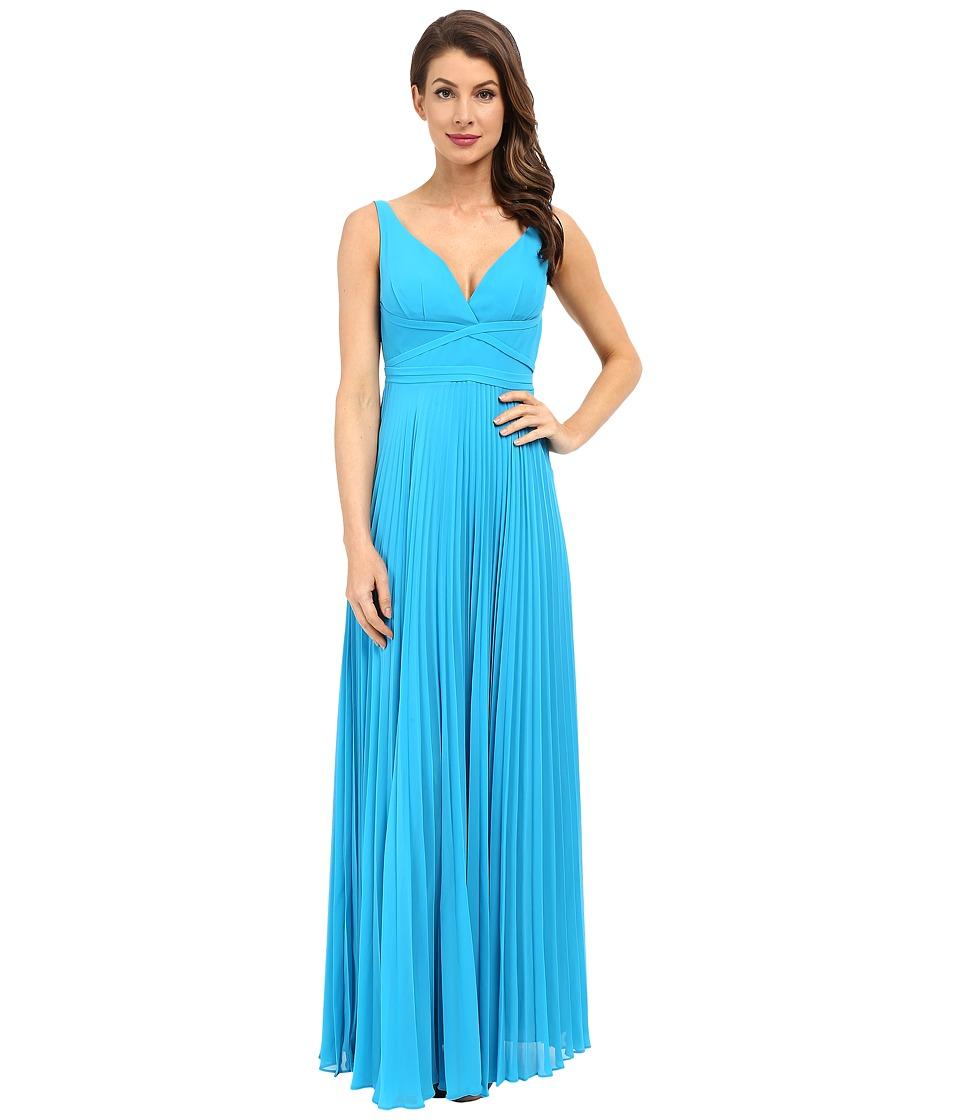 Laundry by Shelli Segal Pleated Chiffon Open Back Gown True Blue Womens Dress
