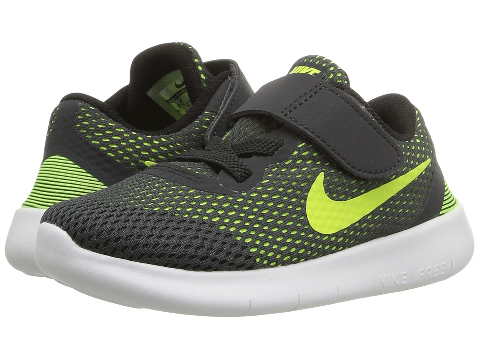 Nike Kids Free RN (Infant/Toddler) (Anthracite/Black/White/Volt) Boys Shoes