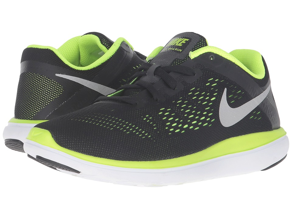 Nike Kids Flex 2016 RN (Big Kid) (Black/Volt/White/Metallic Silver) Boys Shoes