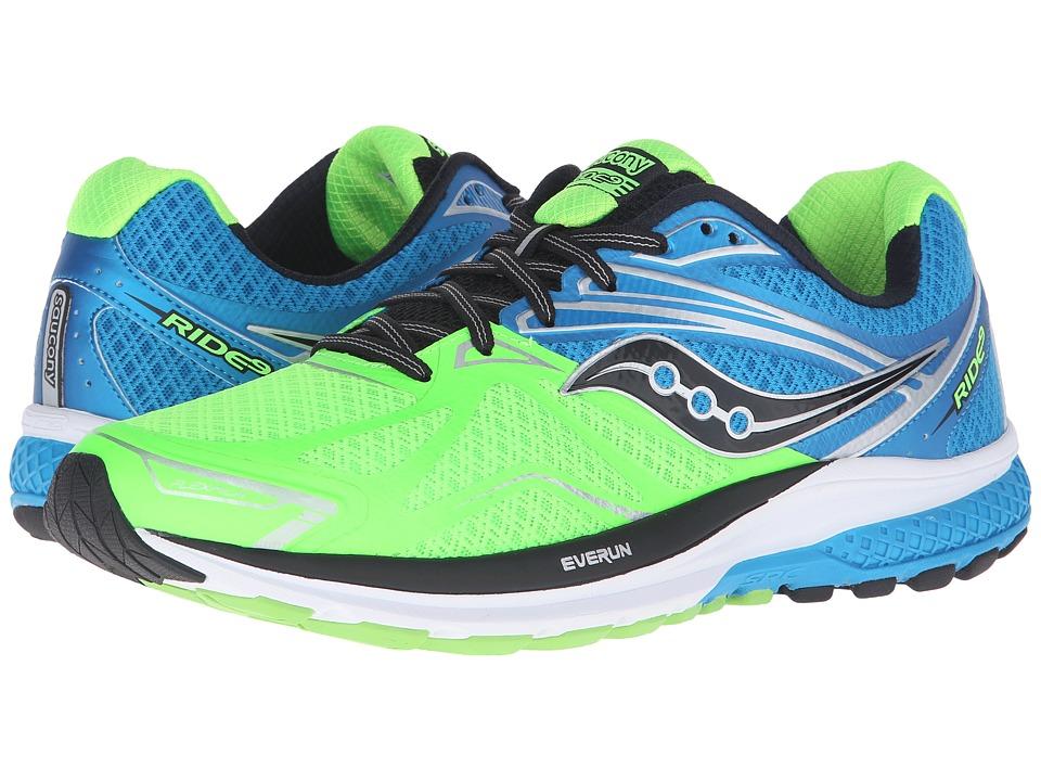 Saucony - Ride 9 (Slime/Blue/Black) Mens Running Shoes