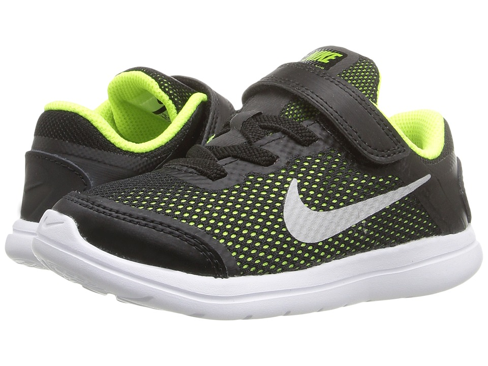 Nike Kids Flex 2016 RN (Infant/Toddler) (Black/Volt/White/Metallic Silver) Boys Shoes