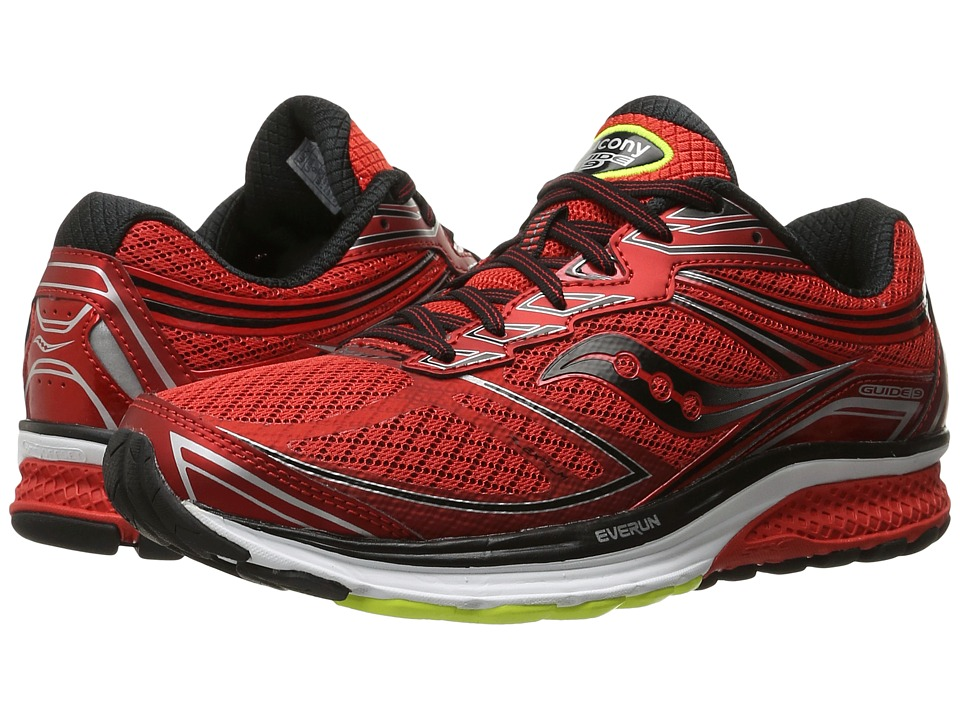 Saucony - Guide 9 (Red/Black/Silver) Mens Shoes