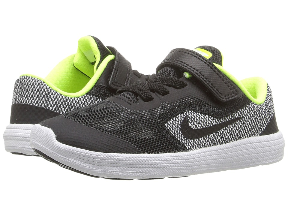 Nike Kids Revolution 3 (Infant/Toddler) (Black/White/Volt/Black) Boys Shoes